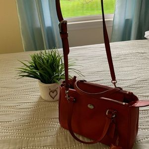 Red coach kathryn leather hand bag